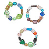 Bracelet mix, stretch, lampworked glass, multicolored, 5x4mm-22x18mm mixed shape, 7-8 inches. Sold individually.