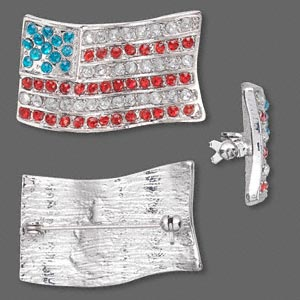 "Brooch, glass rhinestone and rhodium-finished ""pewter"" (zinc-based alloy), red / white / blue, 35x21mm USA flag. Sold individually."