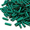 Bugle bead, Dyna-Mites™, glass, matte silver-lined dark green, #3 square hole. Sold per pkg of 35 grams.