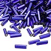 Bugle bead, Dyna-Mites™, glass, silver-lined cobalt, #3 square hole. Sold per 1/2 kilogram pkg.