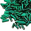 Bugle bead, Dyna-Mites™, glass, silver-lined dark green, #3 square hole. Sold per pkg of 35 grams.