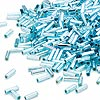 Bugle bead, Dyna-Mites™, glass, silver-lined rainbow aqua, #3 square hole. Sold per 1/2 kilogram pkg.