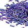 Bugle bead, Dyna-Mites™, glass, silver-lined rainbow dark blue, #3 square hole. Sold per 1/2 kilogram pkg.