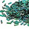 Bugle bead, Dyna-Mites™, glass, silver-lined rainbow emerald green, #3 square hole. Sold per 1/2 kilogram pkg.