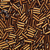 Bugle bead, Ming Tree™, glass, silver-lined dark amber yellow, 1/4 inch. Sold per pkg of 1 pound.