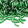 Bugle bead, Ming Tree™, glass, silver-lined emerald green, 1/4 inch. Sold per pkg of 1 pound.