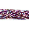 Bugle bead, Preciosa Czech glass, transparent rainbow purple, #3 with round hole. Sold per 1/2 kilogram pkg.