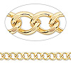 Chain, gold-finished brass, 6x5mm curb. Sold per pkg of 50 feet.