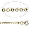 Chain, gold-plated steel, 2.4mm ball, 18 inches with springring clasp. Sold per pkg of 10.