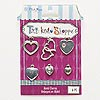 "Charm, Blue Moon Beads®, silver- and antiqued silver-finished ""pewter"" (zinc-based alloy), assorted heart designs. Sold per pkg of 6 charms."