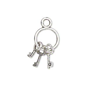"Charm, antique silver-plated ""pewter"" (zinc-based alloy), 21x12mm double-sided old-fashioned key ring with (3) keys. Sold per pkg of 10."