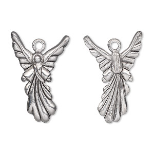 Charm, antiqued pewter (tin-based alloy), 25x17mm double-sided angel. Sold individually.