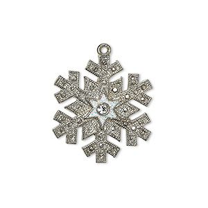 "Charm, silver-plated ""pewter"" (zinc-based alloy) / enamel / glitter / Swarovski® crystals, white and crystal clear, 23.5x21mm single-sided snowflake. Sold individually."