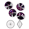 Chaton, Swarovski crystal rhinestone, Crystal Passions®, amethyst, foil back, 12mm faceted rivoli (1122). Sold per pkg of 4.