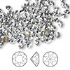 Chaton, Swarovski crystal rhinestone, Crystal Passions®, crystal blue shade, foil back, 4-4.1mm Xirius round (1088), PP32. Sold per pkg of 144 (1 gross).