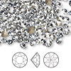Chaton, Swarovski crystal rhinestone, Crystal Passions®, crystal blue shade, foil back, 4.4-4.6mm faceted Xirius round (1088), SS19. Sold per pkg of 144 (1 gross).