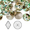 Chaton, Swarovski crystal rhinestone, Crystal Passions®, crystal luminous green, foil back, 12mm faceted rivoli (1122). Sold per pkg of 48.