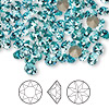 Chaton, Swarovski crystal rhinestone, Crystal Passions®, light turquoise, foil back, 5.27-5.44mm faceted Xirius round (1088), SS24. Sold per pkg of 12.