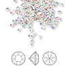 Chaton, Swarovski crystal rhinestone, crystal AB, foil back, 2.4-2.5mm Xilion round (1028), PP18. Sold per pkg of 1,440 (10 gross).