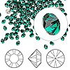 Chaton, Swarovski crystal rhinestone, emerald, foil back, 3-3.2mm Xilion round (1028), PP24. Sold per pkg of 12.