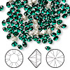 Chaton, Swarovski crystal rhinestone, emerald, foil back, 4.0-4.1mm Xilion round (1028), PP32. Sold per pkg of 1,440 (10 gross).