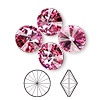 Chaton, Swarovski crystal rhinestone, rose, foil back, 14mm faceted rivoli (1122). Sold per pkg of 48.