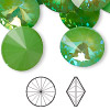 Chaton, Swarovski crystal rhinestone with third-party coating, ultra green AB, 18mm faceted rivoli (1122). Sold per pkg of 72.