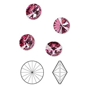 Chaton, Swarovski® crystal rhinestone, Crystal Passions®, rose, foil back, 8.16-8.41mm faceted rivoli (1122), SS39. Sold per pkg of 4.