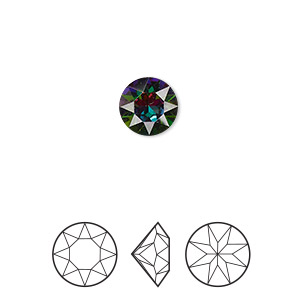 Chaton, Swarovski® crystal rhinestone with third-party coating, Crystal Passions®, crystal electra, foil back, 8.16-8.41mm Xirius round (1088), SS39. Sold per pkg of 4.