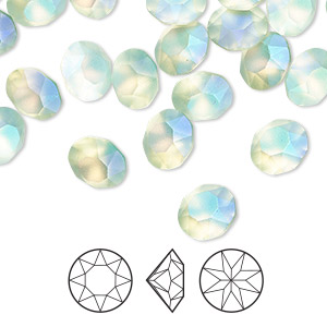 Chaton, Swarovski® crystal rhinestone with third-party coating, Crystal Passions®, pastel chrysolite, foil back, 8.16-8.41mm Xirius round (1088), SS39. Sold per pkg of 4.
