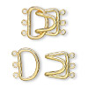 Clasp, 3-strand hook, gold-plated brass, 23x15mm. Sold per pkg of 10.