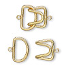 Clasp, hook, gold-plated brass, 23x15mm. Sold per pkg of 10.