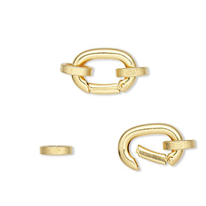 Clasp, self-closing hook, gold-plated brass, 14x10mm with (2) 8x7mm oval jumprings. Sold per pkg of 2.