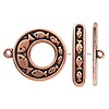 Clasp, toggle, antiqued copper-plated pewter (tin-based alloy), 24.5mm go-go with fish design. Sold individually.