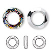 Component, Swarovski crystal, crystal volcano, 20mm faceted cosmic round ring fancy stone (4139). Sold per pkg of 24.