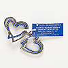 "Component, enamel and antiqued silver-finished ""pewter"" (zinc-based alloy), blue, 31x30mm double heart. Sold per pkg of 2."