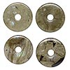 Component, labradorite (natural), 25mm round donut, C grade, Mohs hardness 6 to 6-1/2. Sold per pkg of 4.