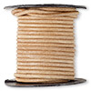 Cord, leather (natural), natural, 2mm. Sold per 5-yard spool.