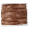 Cord, waxed cotton, light brown, 1mm. Sold per 100-meter spool.