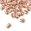 "Crimp, Bulldog Crimp™, copper-plated ""pewter"" (zinc-based alloy), 7x6mm. Sold per pkg of 10."