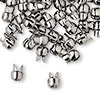 "Crimp, Bulldog Crimp™, gunmetal-plated ""pewter"" (zinc-based alloy), 7x6mm. Sold per pkg of 10."