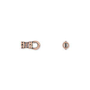 Crimp, JBB Findings, antique copper-plated pewter (tin-based alloy), 5x3mm with loop and 1.7mm inside diameter. Sold per pkg of 4.