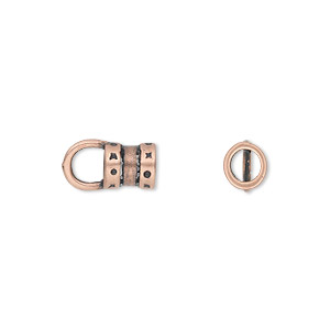 Crimp, JBB Findings, antique copper-plated pewter (tin-based alloy), 7x6mm with loop and 4mm inside diameter. Sold per pkg of 2.