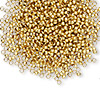 Crimp, gold-finished brass, 2mm round, 1.5mm inside diameter. Sold per pkg of 1,000.