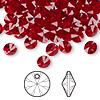Drop, Swarovski crystal, Crystal Passions®, Siam, 6mm Xilion rivoli pendant (6428). Sold per pkg of 144 (1 gross).