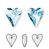 Drop, Swarovski crystal, Crystal Passions®, aquamarine, 17x14mm faceted wild heart pendant (6240). Sold per pkg of 72.