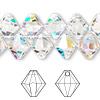 Drop, Swarovski crystal, Crystal Passions®, crystal AB, 10mm faceted bicone pendant (6301). Sold per pkg of 12.