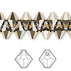 Drop, Swarovski crystal, Crystal Passions®, crystal metallic light gold 2X, 8mm faceted bicone pendant (6301). Sold per pkg of 12.