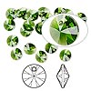 Drop, Swarovski crystal, Crystal Passions®, fern green, 6mm Xilion rivoli pendant (6428). Sold per pkg of 12.