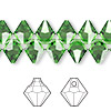 Drop, Swarovski crystal, Crystal Passions®, fern green, 8mm faceted bicone pendant (6301). Sold per pkg of 144 (1 gross).
